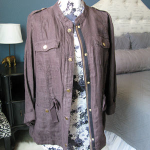Chico's Linen Chocolate/Gold Button Utility Jacket
